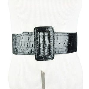 To the Max Black Faux Leather Wide Waist Belt